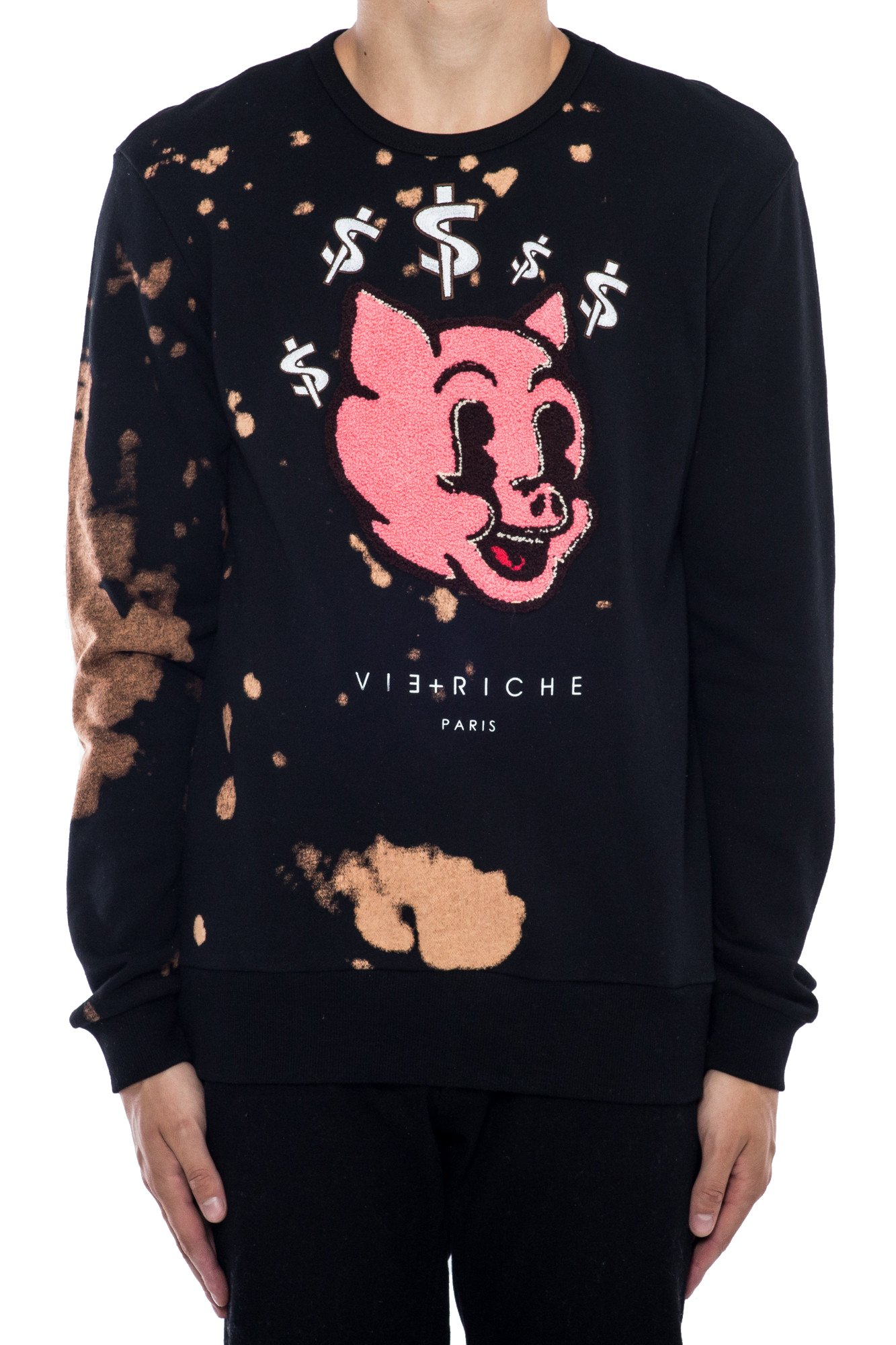 Vie + Riche Men's Piggy Bank Bleached Crewneck Sweatshirt-Black-M