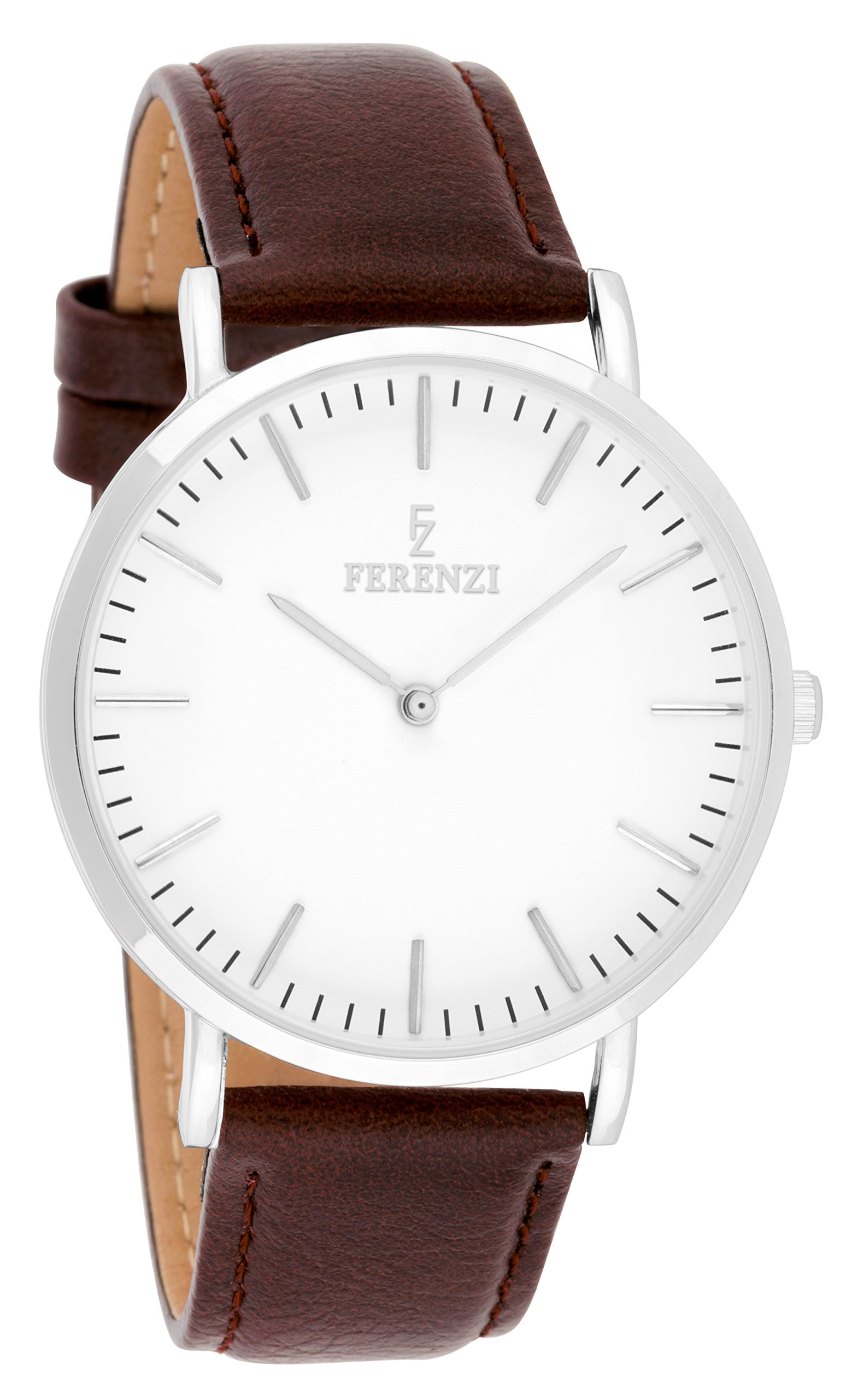Ferenzi Unisex - FZ18603 - Classic Silver-Tone and Burgundy Leather Watch
