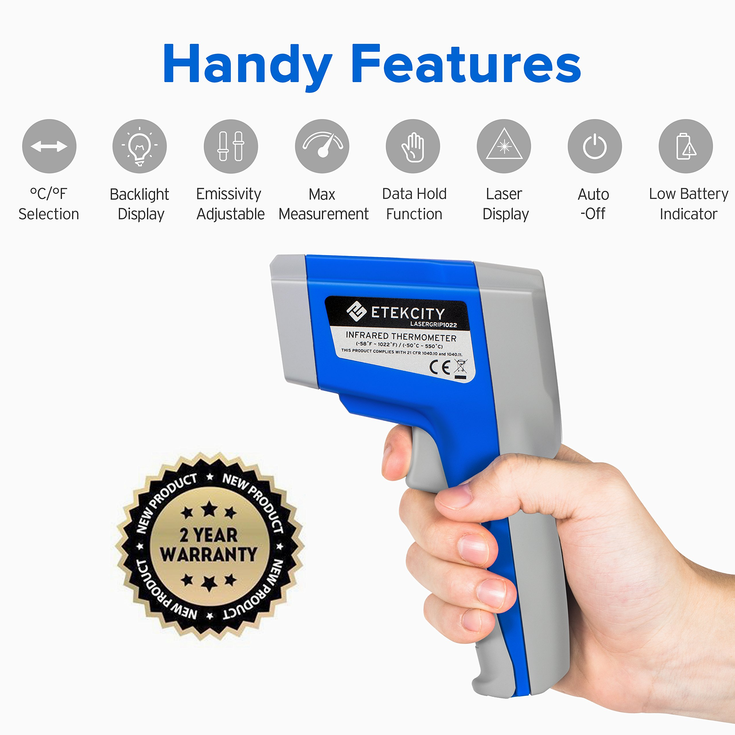 Etekcity 1022 Digital Laser Infrared Thermometer Temperature Gun  Non-contact -58℉~1022℉ (-50℃ ~ 550℃) with Adjustable Emissivity & Max  Measure