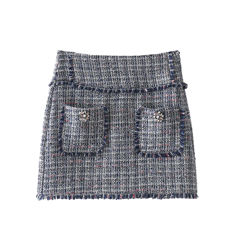 Lokouo 2018 Autumn and Winter New Style Women's Jewelry Inlay Twill Flounce Skirt,XS