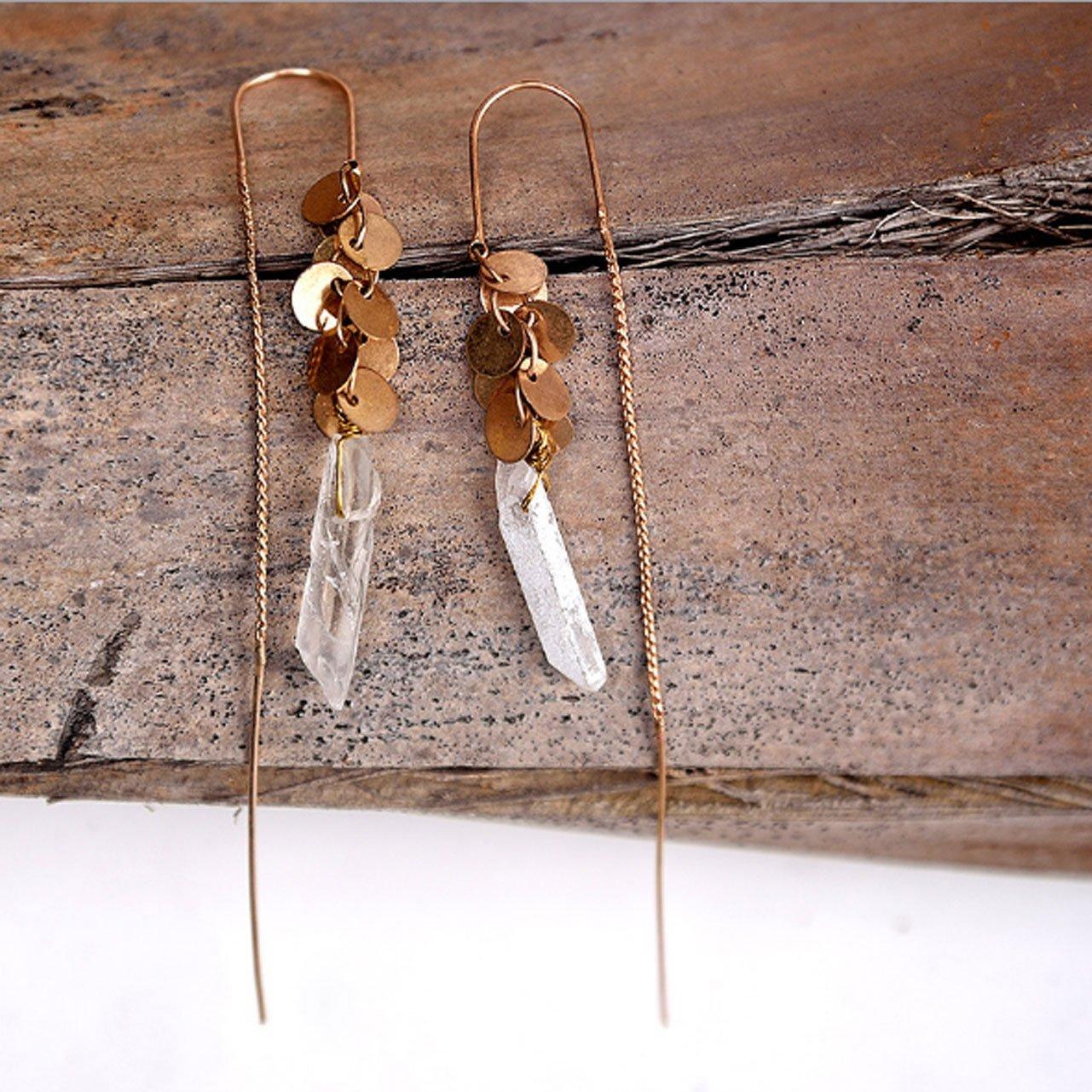 Natural Stone Pendant Earrings Long Grape Shape Metal pendant Earrings For Women