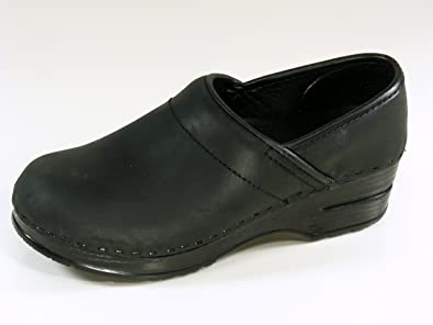 Black Stapled Leather Clog Shoes Size