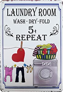 PXIYOU Colorful Wash Dry Fold Repeat Laundry Room Sign Vintage Metal Sign Home Bathroom Wash Room Signs Country Home Decor 8X12Inch