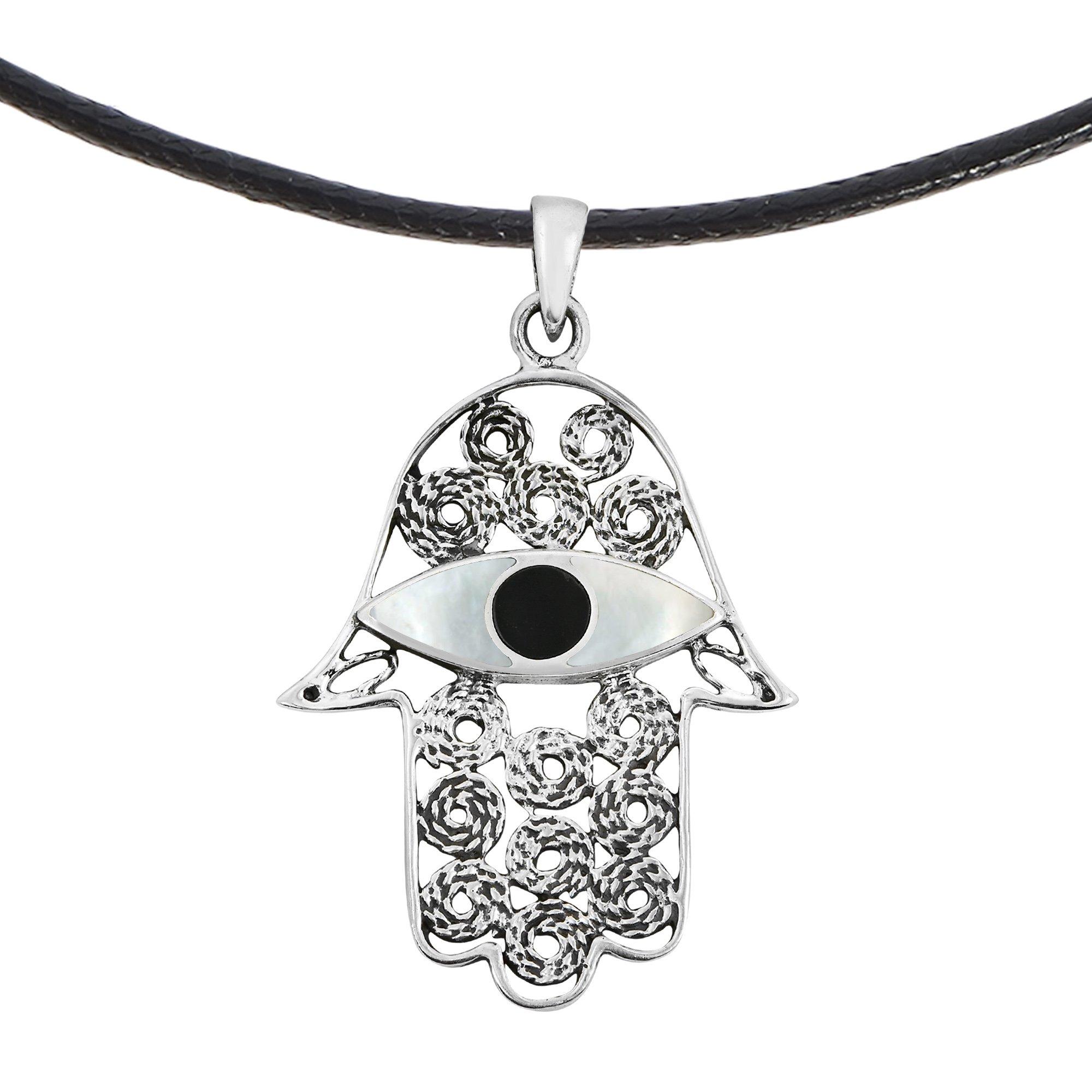 AeraVida Lucky Hamsa Hand of Fatima Amulet Evil Eye Stone Inlay Cotton Wax Cord Necklace