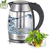 Bouilloire électrique en verre avec passoire à thé en acier inoxydable 1,8 l 2200 W LED sans BPA