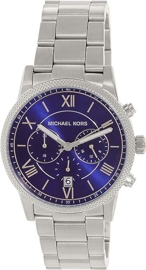 c9e01e9665b86c Michael Kors uomo Hawthorne 42 mm Steel Bracelet & case Quartz Blue Dial  cronografo MK8395