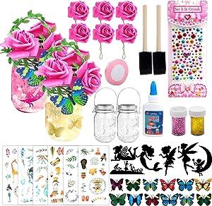 Mukum 42Pcs Fairy Lantern Craft Kits for Girls, Fairy Garden Kit for Kids Art for Kids Crafts and Arts DIY Kits for Girls Fairy Lantern Jar Night Lights Party Bedroom Yard Light Decor