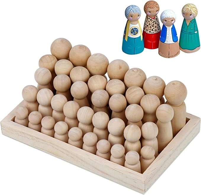 10PCS Wooden Peg Dolls Unfinished Wooden People Bodies and Cups Novelty Nesting Set DIY Craft for Kids Paint Stain Ornament Decorations Craft Art Projects