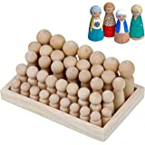 Wooden Peg Dolls Unfinished People – Pack of 40 with Storage Case in Assorted Sizes - Natural Wood Shapes Figures, Decorative