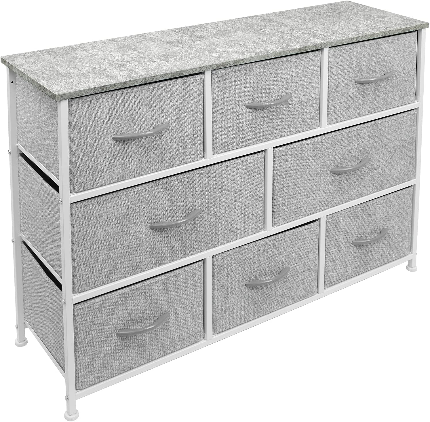 Sorbus Dresser with 8 Drawers - Furniture Storage Chest Tower Unit for Bedroom, Hallway, Closet, Office Organization - Steel Iron Frame, Rustic Farmhouse Wood Top, Fabric Bins (Gray)