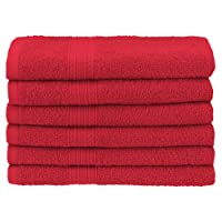 "Superior Eco-Friendly 100% Ringspun Cotton, 6 Piece Hand Towel Set (16"" x 30"") in Cranberry"