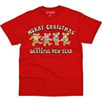 Liquid Blue Kids' Grateful Dead Gingerbread Bears Merry Christmas Youth T-Shirt, Red, X-Small