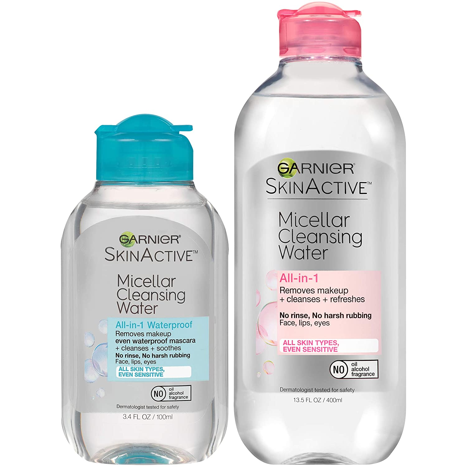 Garnier SkinActive Micellar Cleansing Water, For All Skin Types, 13.5 fl oz + Micellar Cleansing Water, For Waterproof Makeup, 3.4 fl oz