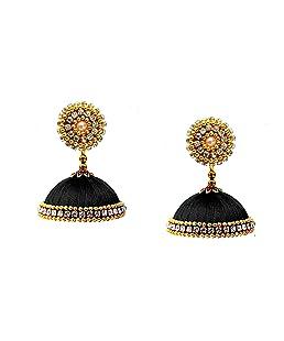 Youth Black Fabric Silk Thread Jhumki Earrings for Women