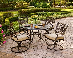 Hanover TRADITIONS5PCSW Traditions 5-Piece Deep-Cushioned Swivel-Rocker Dining Set Outdoor Furniture, Bronze Frame, Tan