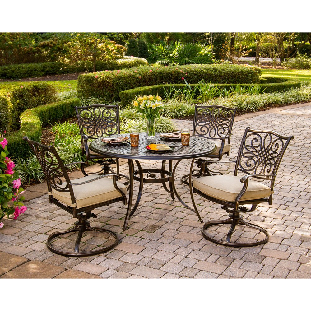 Hanover TRADITIONS5PCSW Traditions 5-Piece Deep-Cushioned Swivel-Rocker Dining Set Outdoor Furniture, Bronze Frame Tan