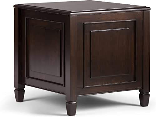 Simpli Home Connaught SOLID WOOD 21 inch wide Rectangle Traditional End Side Table with Tray in Dark Chestnut Brown, for the Living Room and Bedroom