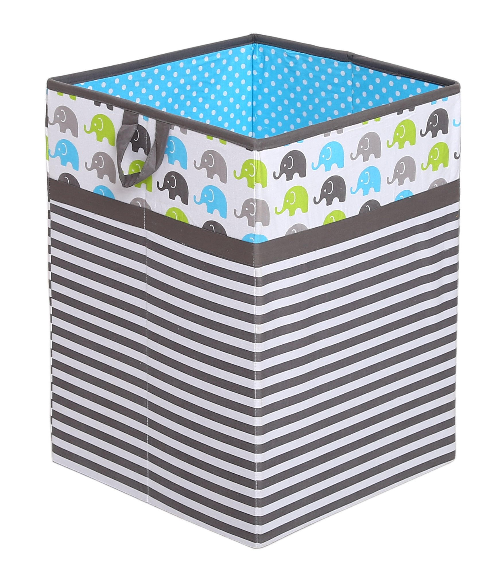 Bacati Collapsible Storage Hamper, Elephants, Aqua/Lime/Grey, One Size by Bacati