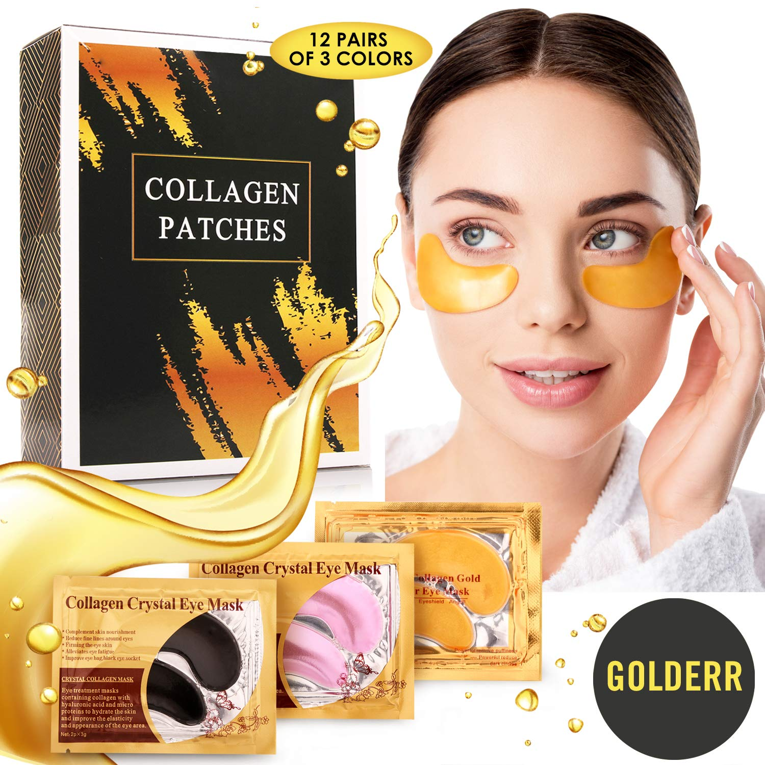 Under Eye Patches Collagen 24K Gold Rose Black Pack of 12 Reducing Dark Circles Anti Aging Bags Treatment Anti Wrinkle Gel Mask For Puffy Eyes Face Moisturizing Skin Care Beauty Products For Women by GOLDERR