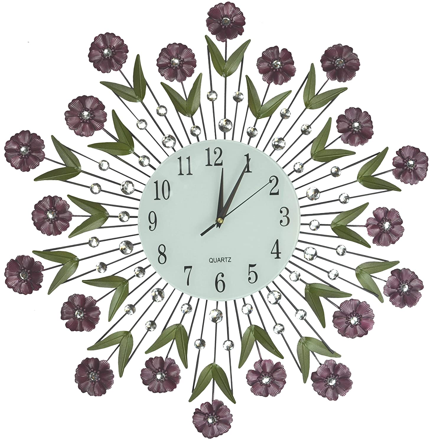 """LuLu Decor, Flower Burst Wall Clock 24"""", White Glass Dial with Arabic Numerals 8.5"""", Decorative Metal Wall Clock for Living Room, Bedroom, Office Space"""