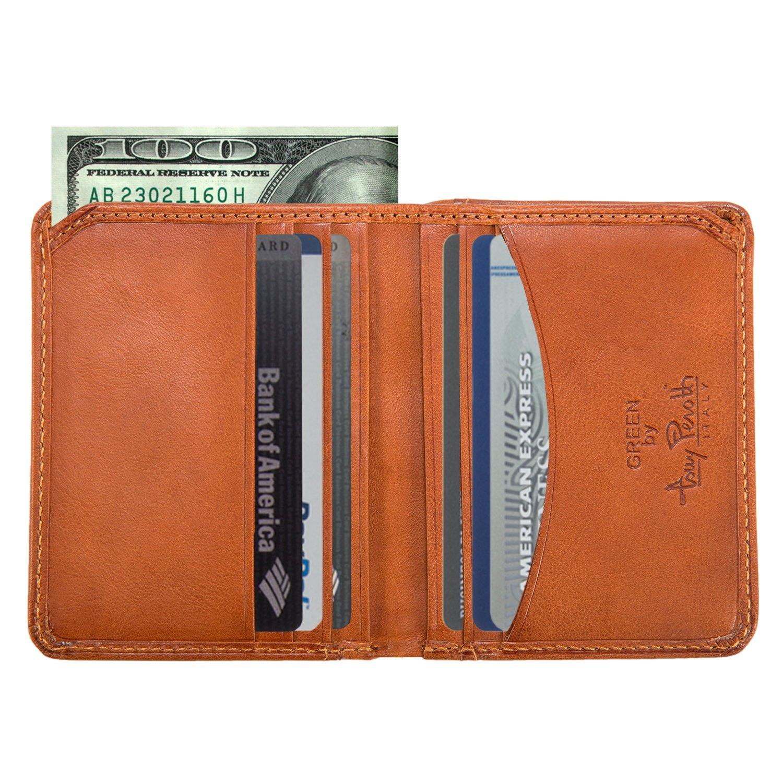 Italian Cow Leather Slim Front Pocket Bifold Weekend Wallet