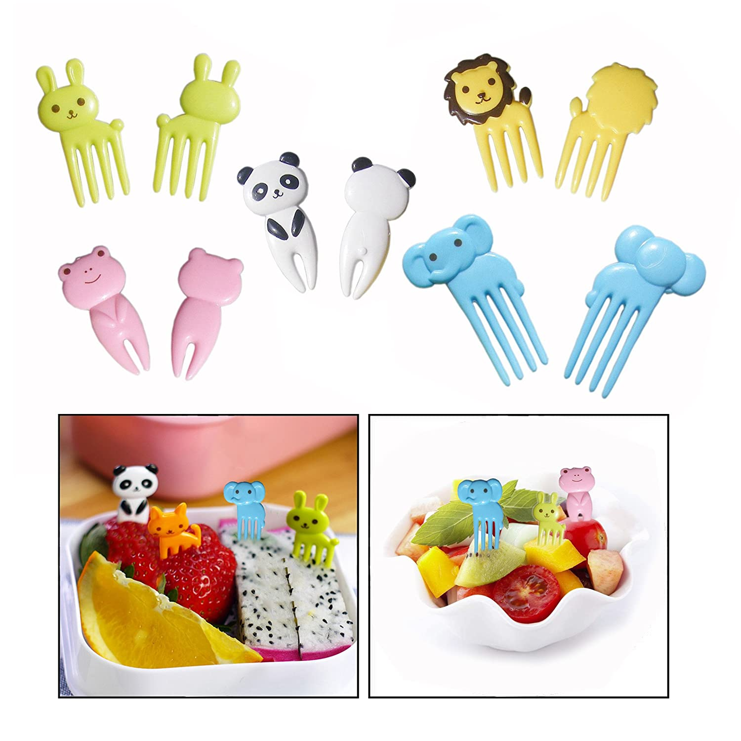 OFKPO 10Pcs Mini Lunch Fork, Animal Cartoon Child Fruit Fork, Animal Mini Cartoon Toothpick for Your Kids(Specifications: about 60MM)