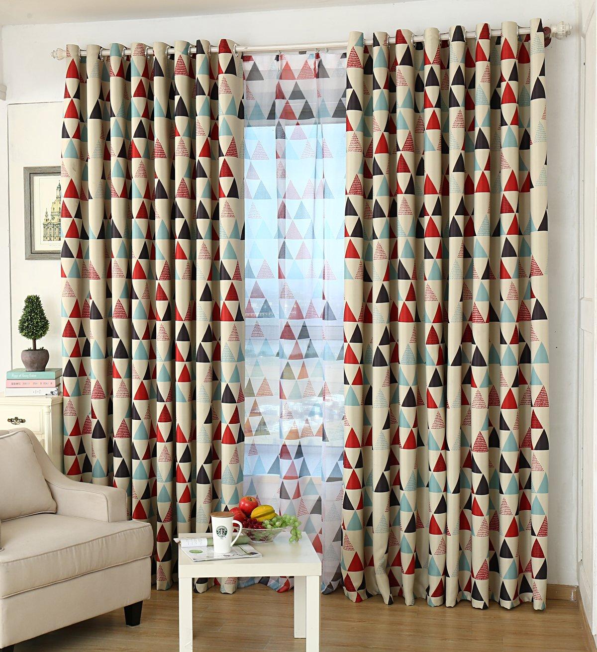 GYROHOME Tartan Lozenge Blackout Curtain Thermal Insulated Washable Drape Noise Reducing No Formaldehyde GYC2054
