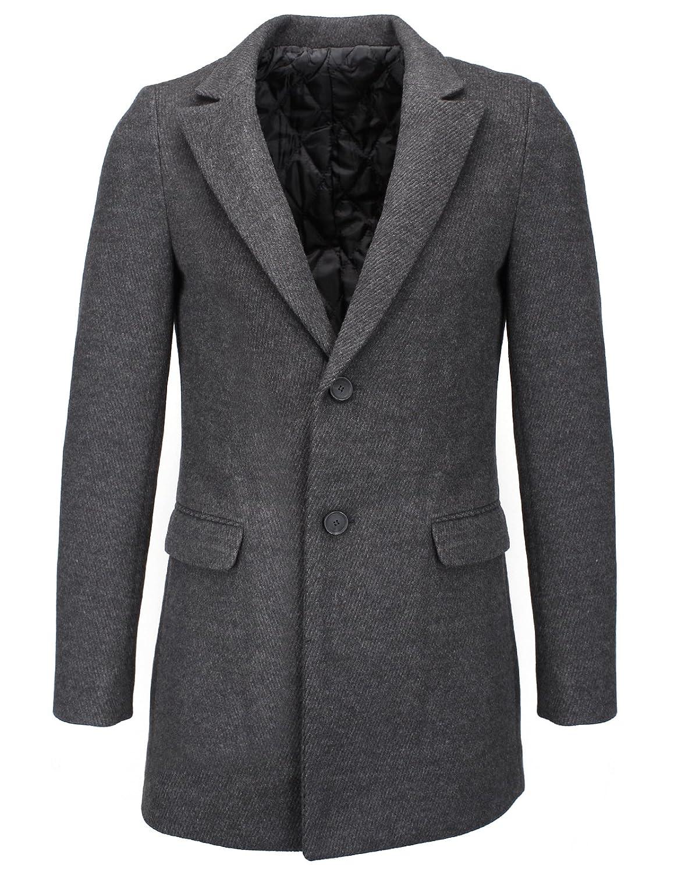 FLATSEVEN Mens Slim Wool Blend Peaked Lapel Blazer Jacket
