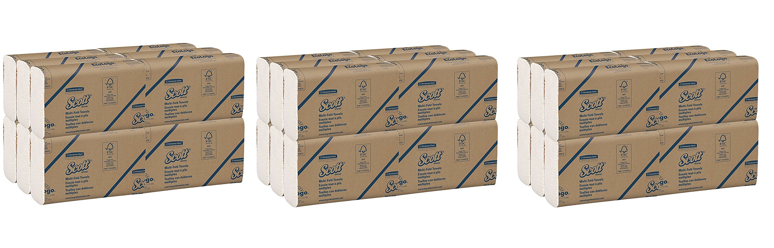Scott Multifold Paper Towels (03650) with Fast-Drying Absorbency Pockets IYgjxS, White, 250 Multifold Towels / Pack, 3Pack (12 Packs) (36 Packs Total)