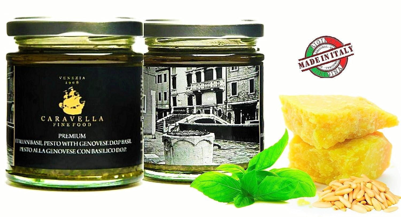 Caravella Premium Salsa PESTO GENOVESE Orgánico con DOP Albahaca y Aceite de Oliva virgen extra 180 g directamente desde Venecia: Amazon.es: Alimentación y ...