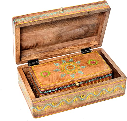 Jaipur - Juego de 2 Cajas Decorativas de Madera pintadas a Mano ...
