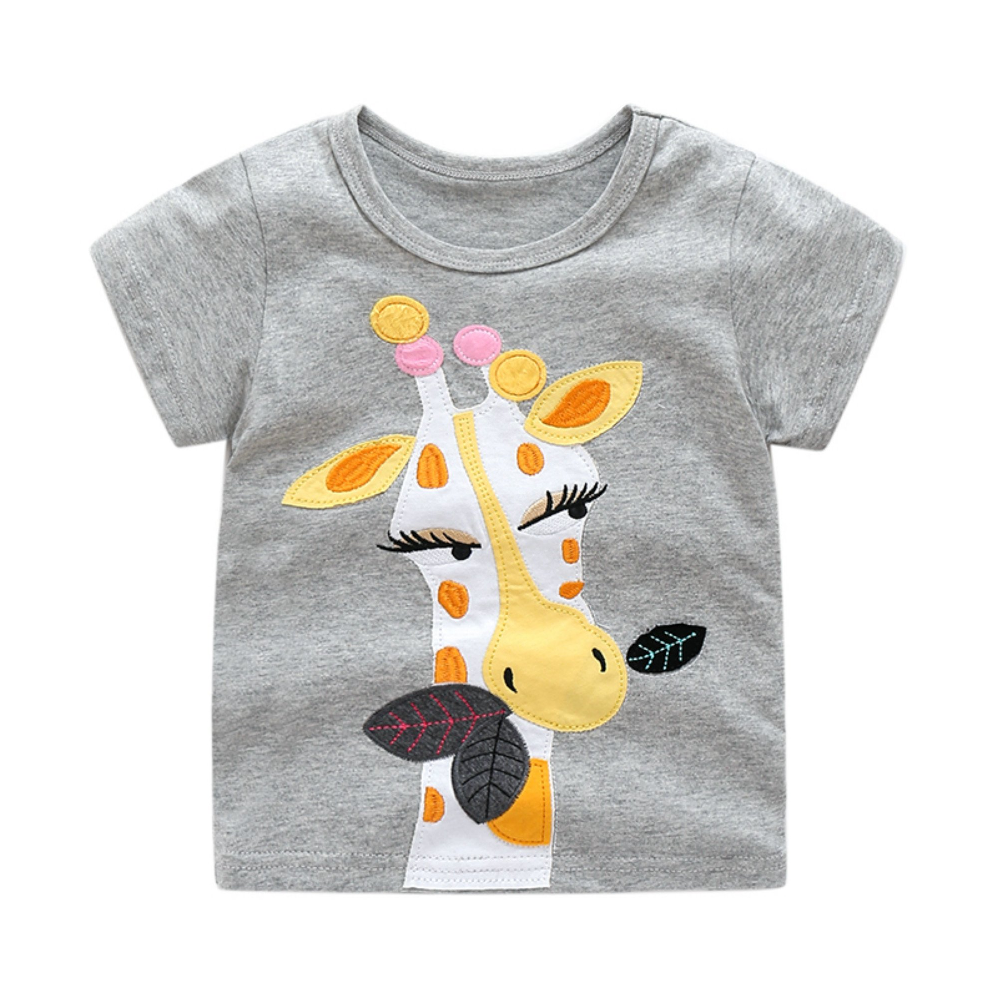 Toddler Boys Girls T-shirts Tops Organic Short-sleeved Cute Animals Prints Embroidery Unisex 2t-7t (6T, Grey)