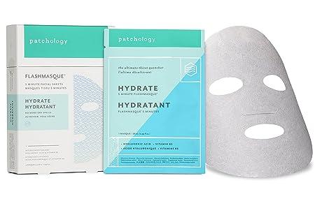 Patchology Hydrate FlashMasque Sheet Mask, a Deeply Moisturizing Hydrating Mask – w Hyaluronic Acid, Vitamin B5, Betaine- 4 Masks Box