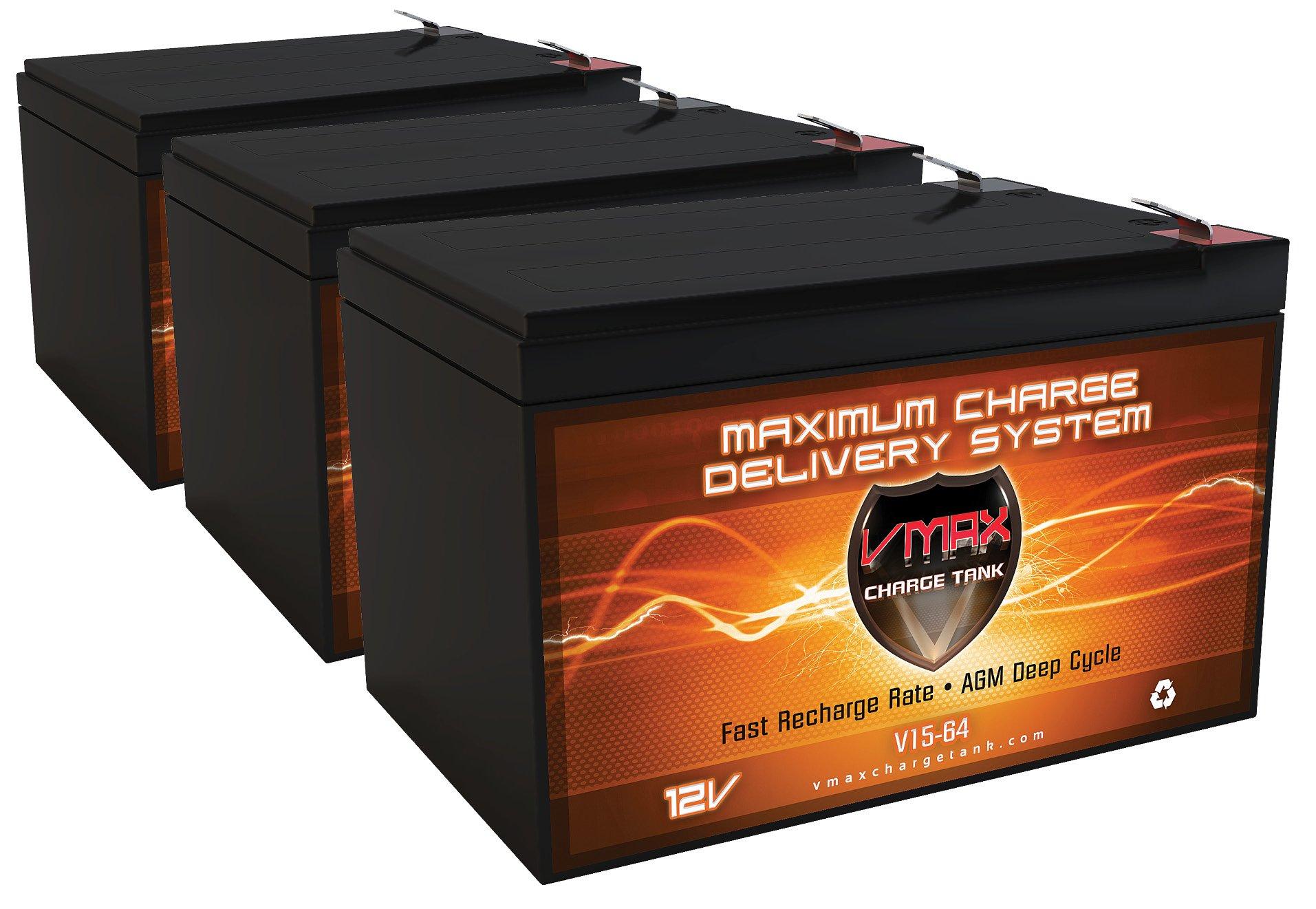 QTY 3 VMAX64 12V 15Ah AGM Deep Cycle top quality Battery for Razor MX500 MX650