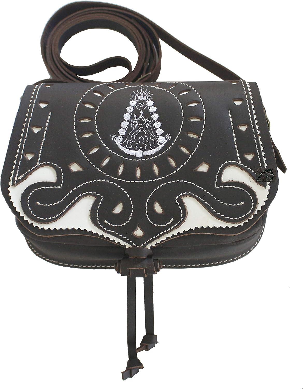 Funrey Bolso de piel Bordado Virgen del Rocio de Ubrique convertible riñonera Medidas: 18 x 14 x 6 cm
