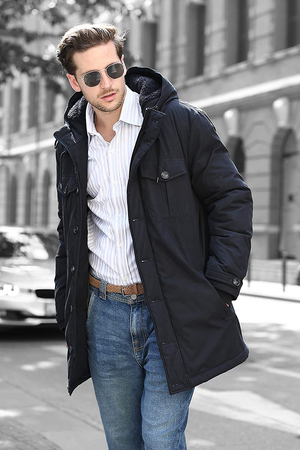 Faux Fur Lined YsCube 3-in-1 Warm Winter Parka Coat for Men Windproof Shell and Interior Belt to Keep Warm in Cold Snow Winter