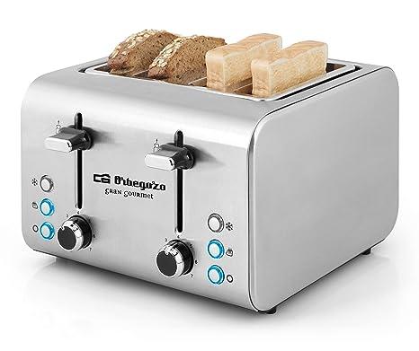 Orbegozo TO 8000 - Tostadora 4 rebanadas, cuerpo de acero inoxidable, 7 niveles de tostado, centrado automático del pan, función descongelado y ...