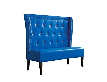 ACME Furniture 57268 Oliana Wingback Settee, Blue Pu