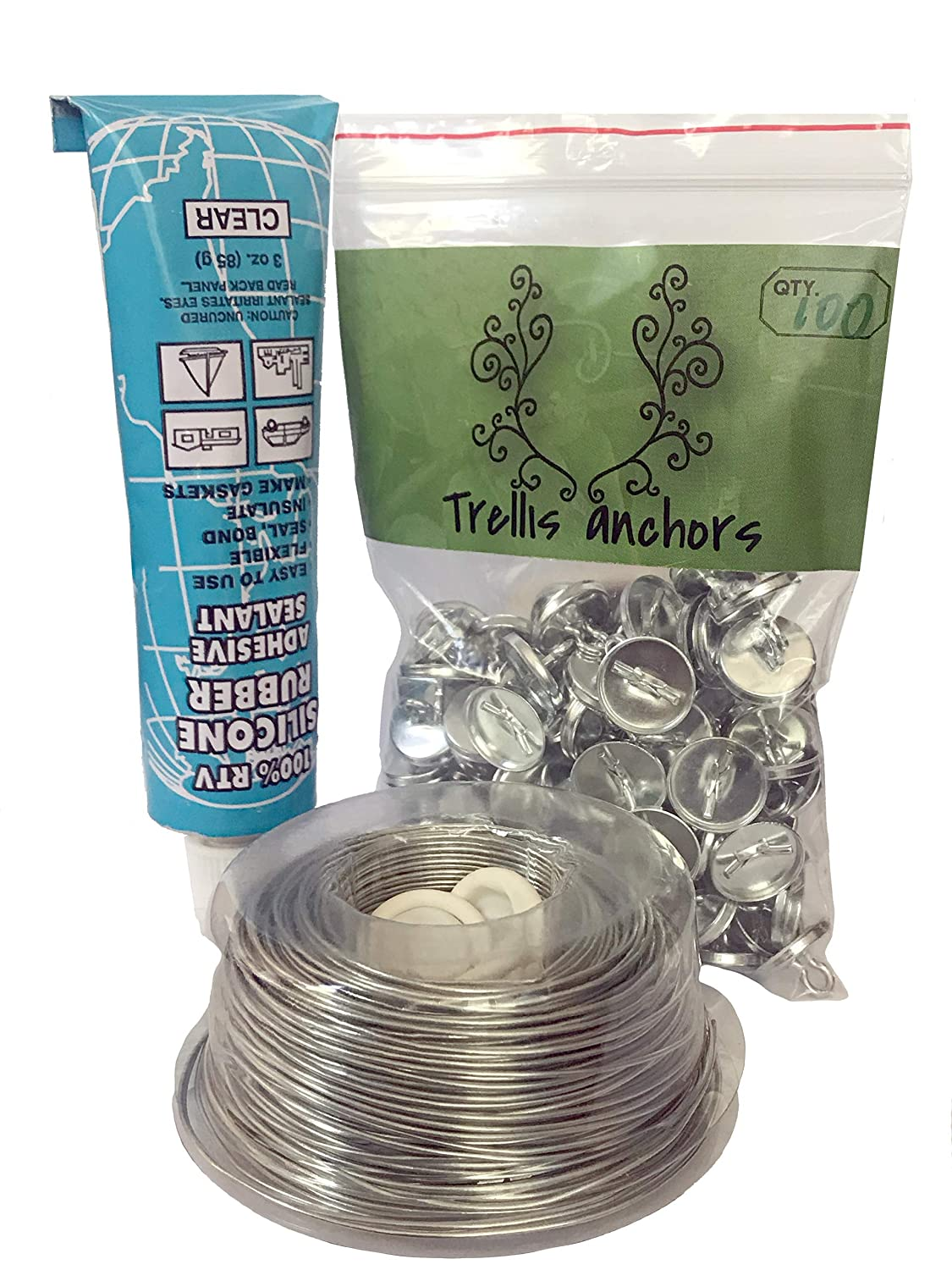 Trellis Anchor Plants, Vine, Trellis Design Kit 100-Piece Plant Anchors,3 Ounce Silicone Adhesive, 175 Feet Galvanized Steel Wire and Finger Cots
