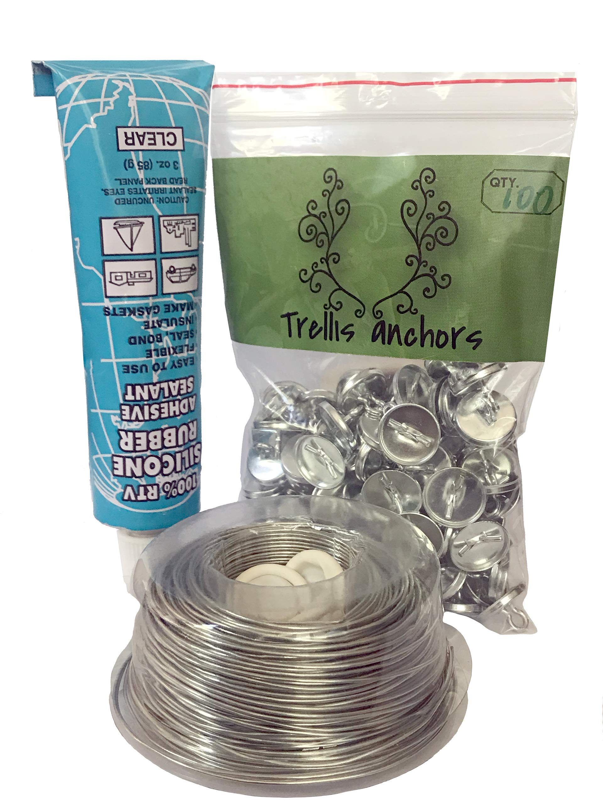 Trellis Anchor Plants, Vine, Trellis Design Kit 100-Piece Plant Anchors,3 Ounce Silicone Adhesive, 175 Feet Galvanized Steel Wire and Finger Cots by Trellis Anchor