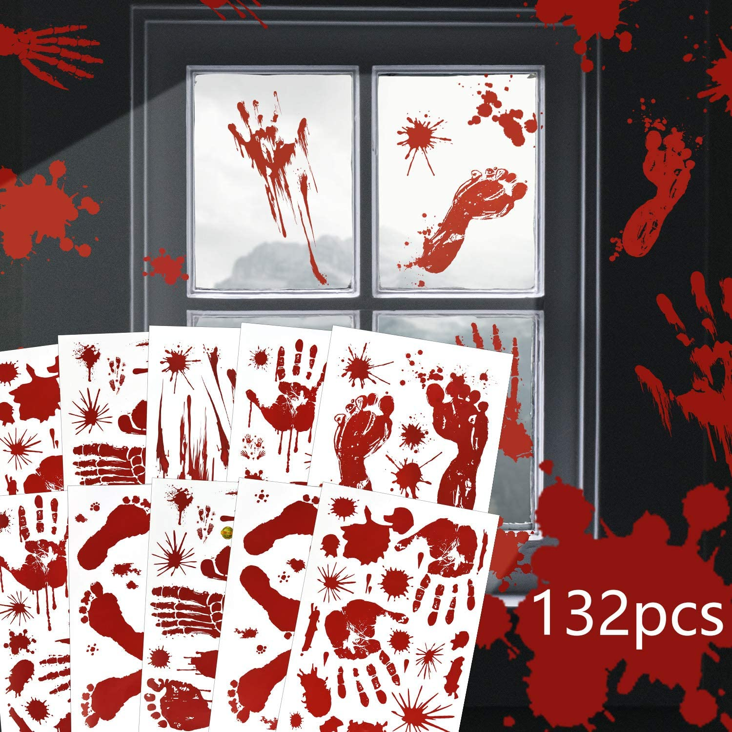 EAONE Halloween Decorations Bloody Handprint Footprint Stickers Window Wall Floor Clings Decals for Halloween Party Decorative Supplies, 10 Sheets