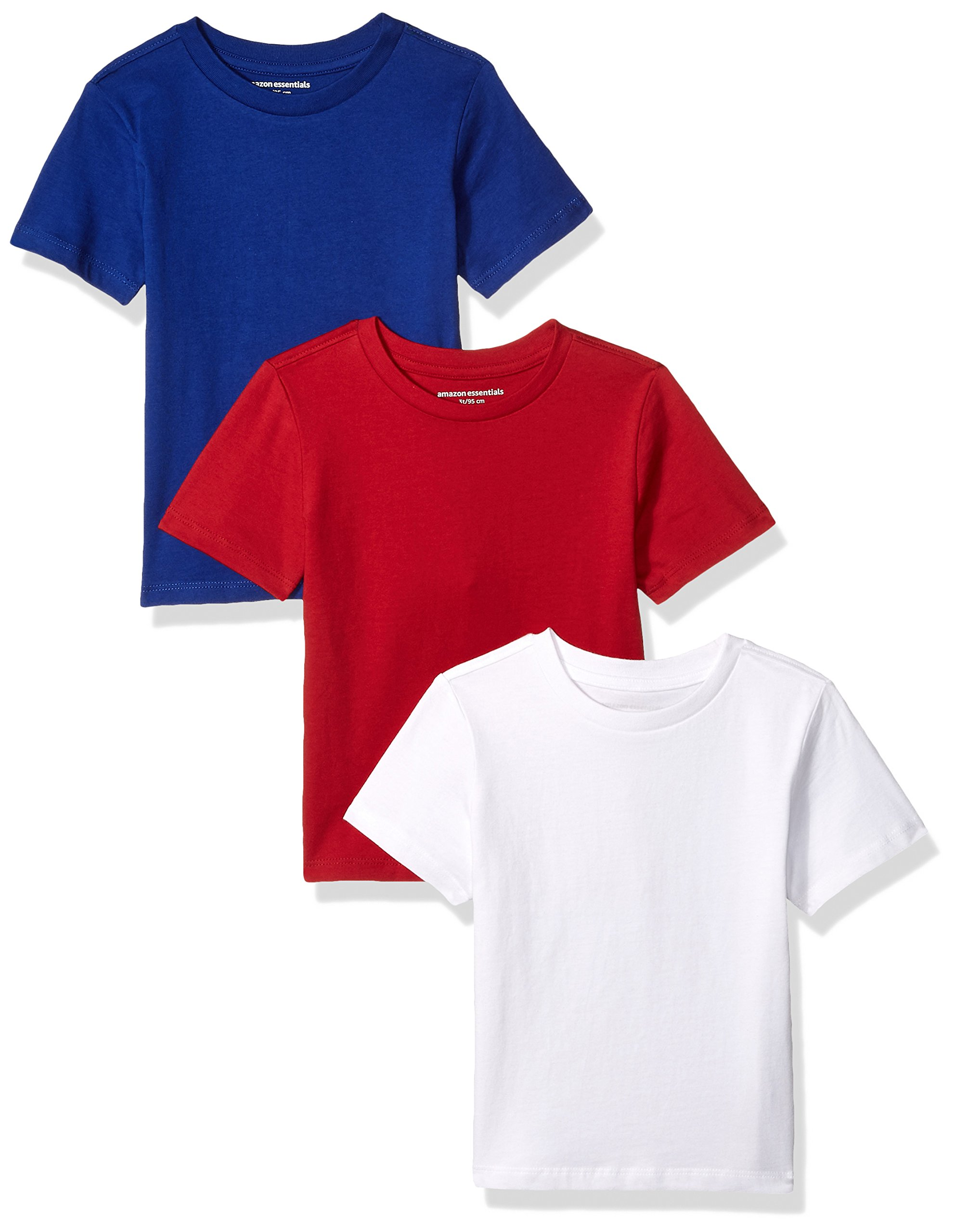 Amazon Essentials Big Boys' 3-Pack Short Sleeve Tee, Red/White/Blue, M (8)