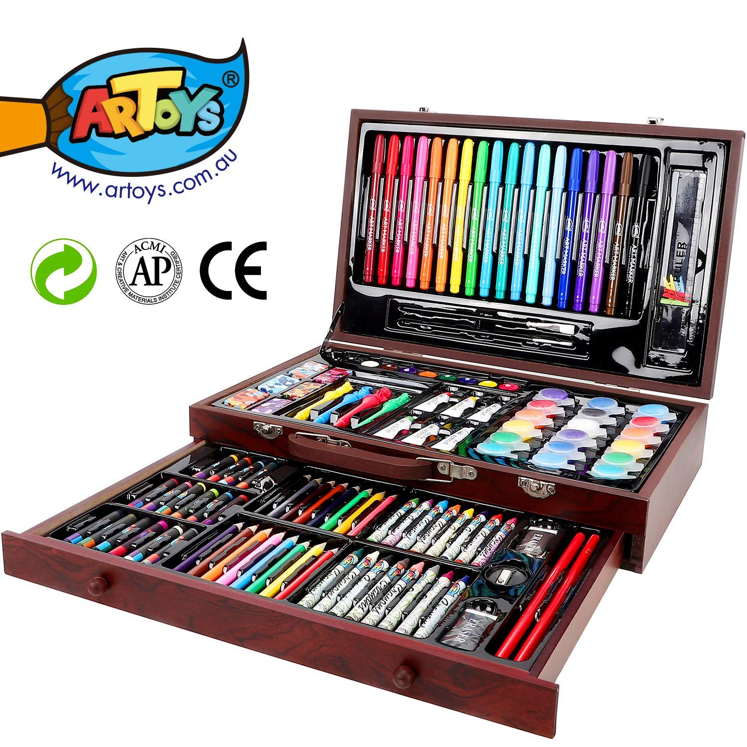 ARTOYS Art Set Kids 123 Piece Drawing Painting Set Artist Kit,Crayon Set,Watercolor Paint Set,Colored Pencils,Marker Pens,Oil Pastels,Acrylic Paint,Portable Art Wood Case,Gifts for Kids Teens Adults by ARTOYS