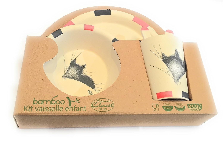 coffret vaisselle bambou chat dodo Editions Clouet