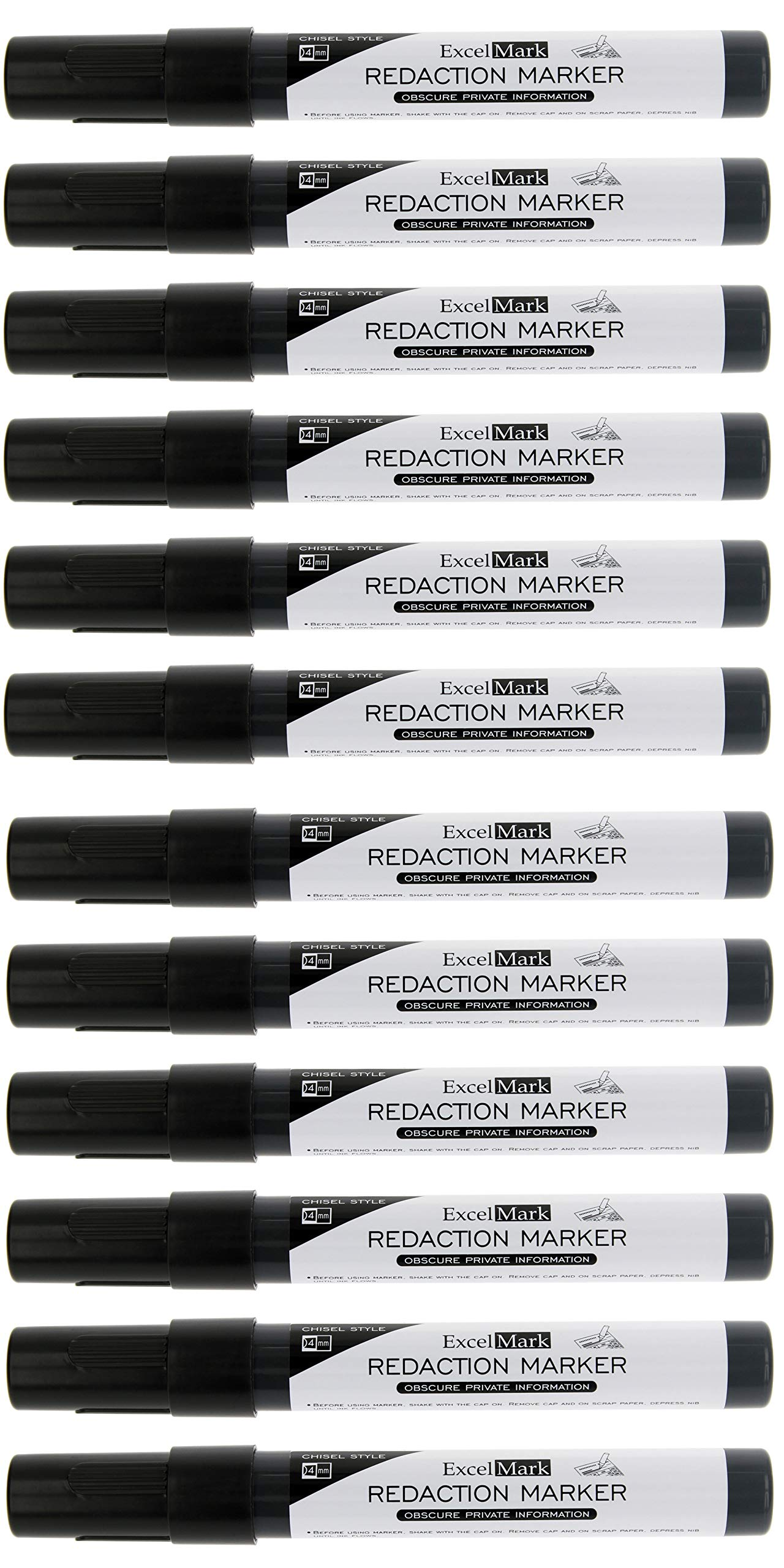 ExcelMark Security Redaction Marker - Blackout Private Information With Our Convenient Redacting Pen (12 Markers) by ExcelMark