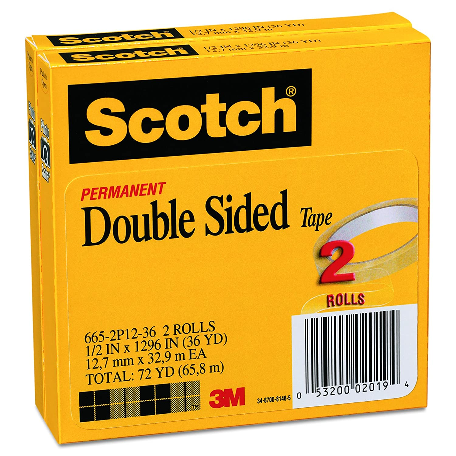 Amazon.com : Scotch 665 Double-Sided Tape, 0.50 x 1296 Inches, Clear, Pack  of 2 : Mounting Tapes : Office Products