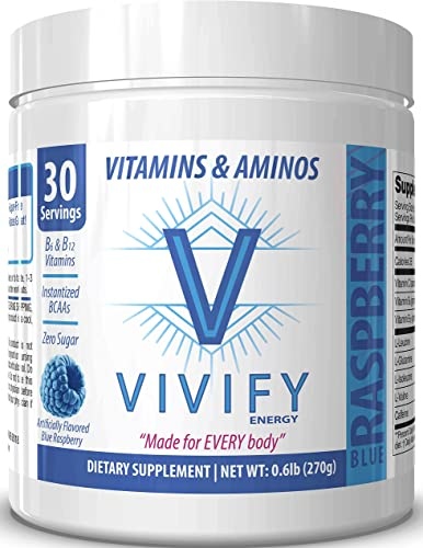 Vivify All-Day Energy Vitamin and Amino Powder, Top-Rated Preworkout Energizer for Women and Men, 5g BCAA s, L-Glutamine. Zero Sugar. Blue Raspberry. 30 Servings.