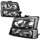 4PCS Black/Clear Headlights + Bumper Lamps Replacement for Chevy Silverado Avalanche 03-06 (w/o Factory Cladding)