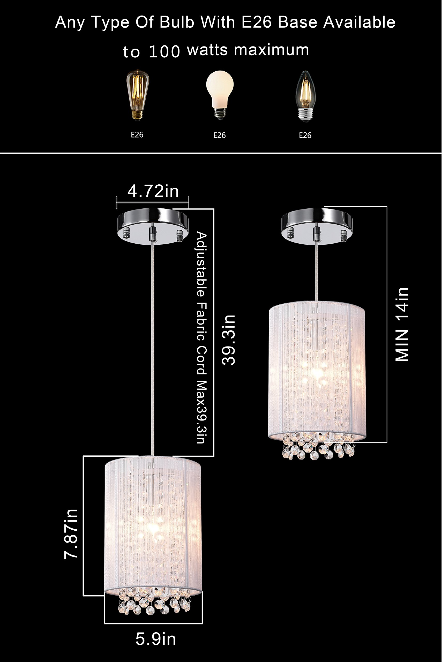 LaLuLa Pendant Lighting Mini Pendant Light Silver Drum Crystal Chandelier 1 Light by LaLuLa (Image #7)