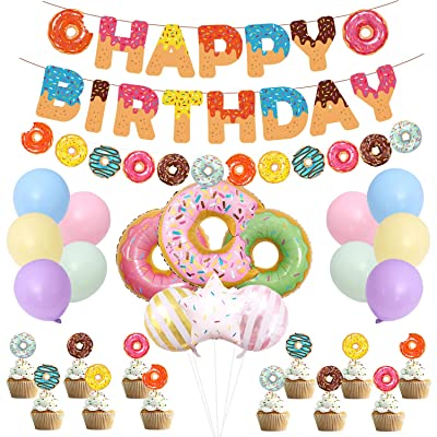 TownLights Donut Party Supplies Kit for Kids, Doughnut Birthday Decoration Set Include Donut Foil Balloon, Latex Balloon, Donut Cake Topper, Donut Garland Banner for Baby Shower Donut Party Decor: Toys & Games